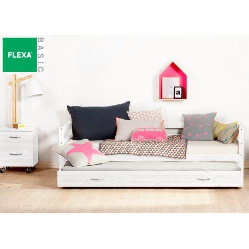 Flexa Lit gigogne en pin vernis blanchi couchage 90 x 200 pas cher