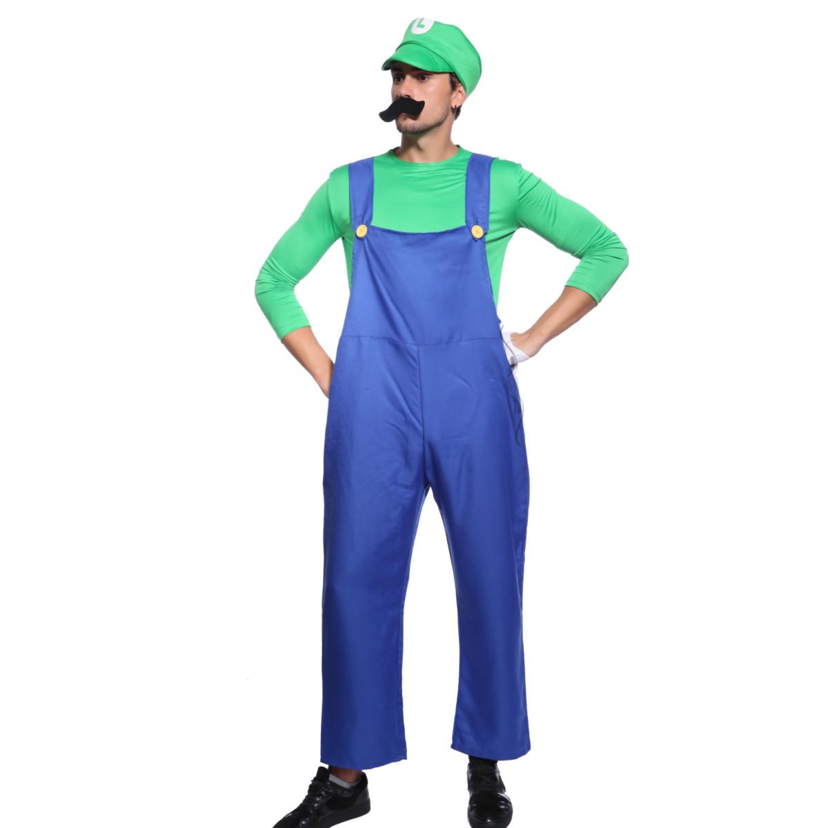 Déguisement Costume Mario Luigi Frere Bros Bleu Rouge Vert Jeux Game