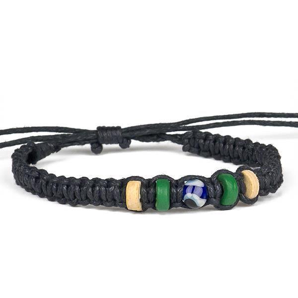 Bracelet tribal de fibre naturelle, verre et noix de coco Achat