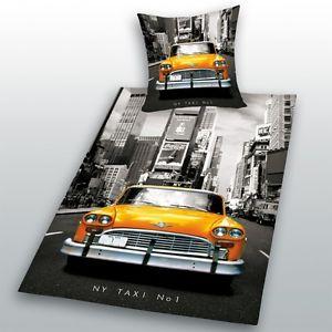 Parure Housse DE Couette LIT NEW York Taxi Ados Enfant Garçon Fille