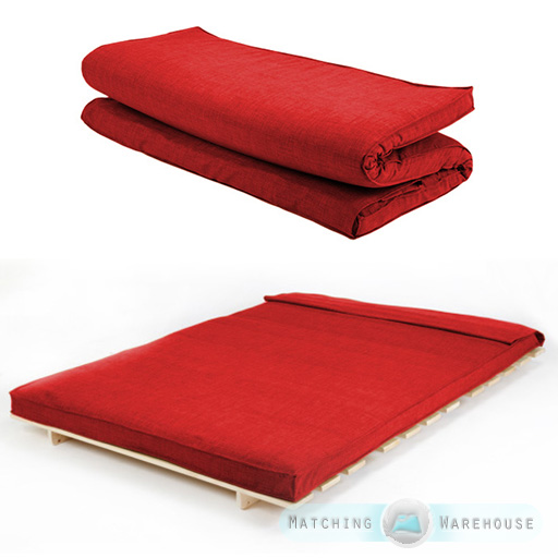 Fabric Double Size Futon Mattress Folding Foam Filled Removeable Cover