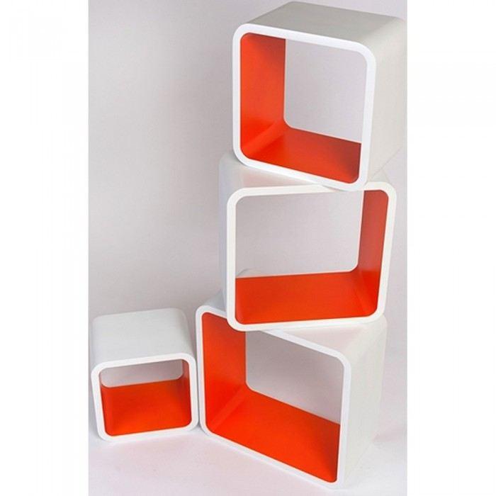 Etagère design cubes oranges et blancs Couleur Multicolore Matière
