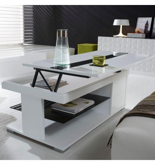 Table basse relevable laquée blanche et verre noir CUBIC