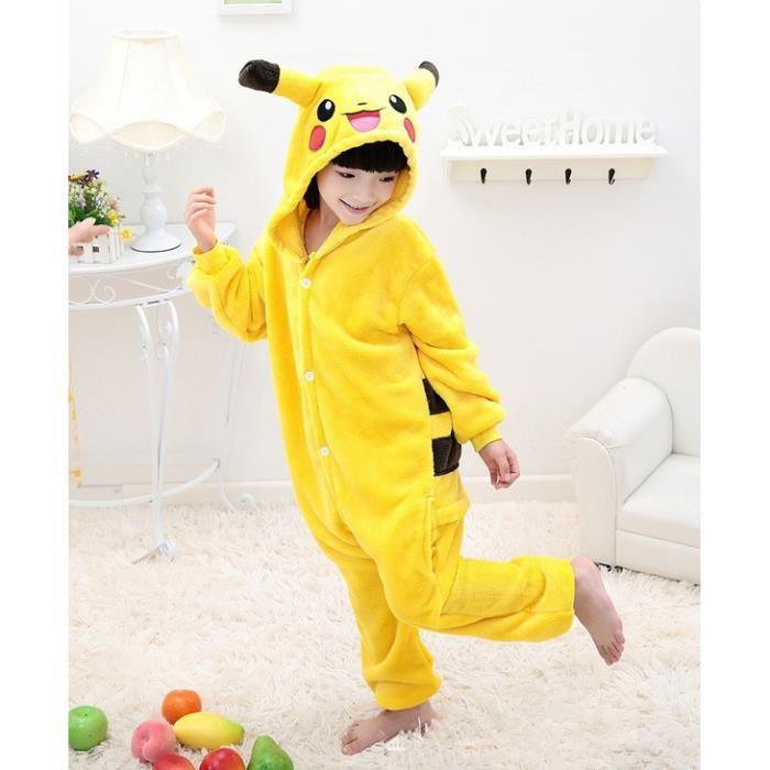 Pikachu Onesie Enfants Filles Garçons Douce Et Chaude Cosplay Pyjamas
