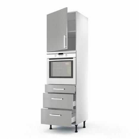 Meuble de cuisine colonne gris 1 porte + 3 tiroirs Délice H.200 x l