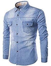 Glestore Chemises en jean Homme Manches longues XS 3XL