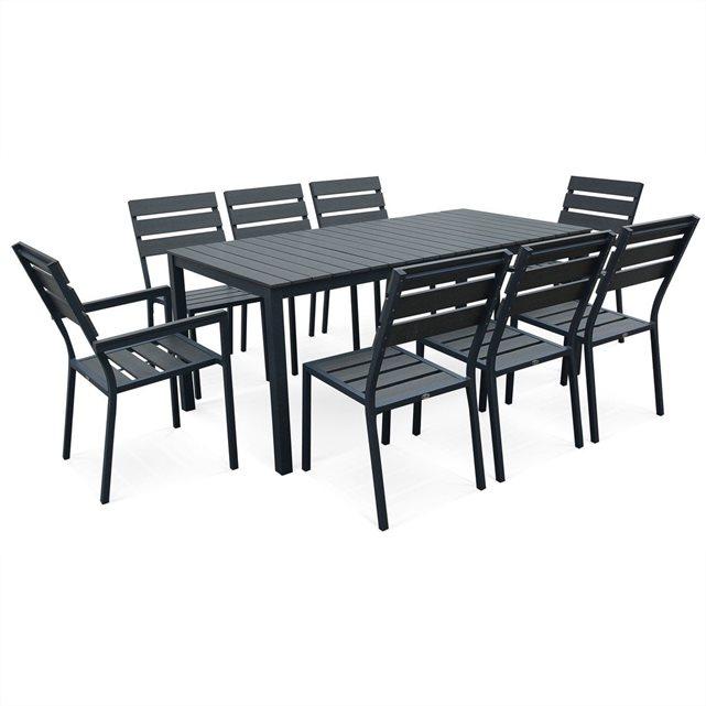 GARDEN Salon de jardin MONACO en bois composite et aluminium, table