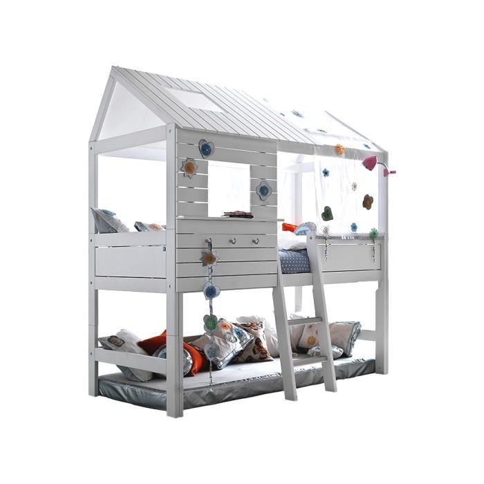 Lit cabane avec échelle inclinée Silversparkle verni blanc Achat