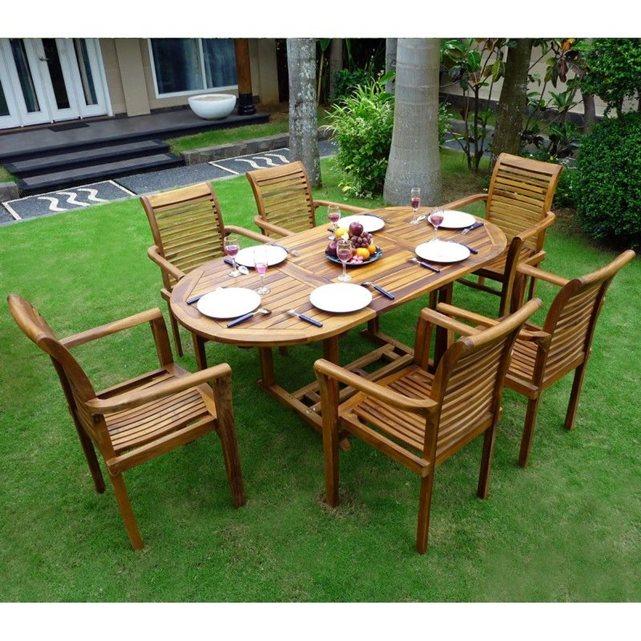 WOOD EN STOCK Salon en teck de jardin pour 6 personnes table 180