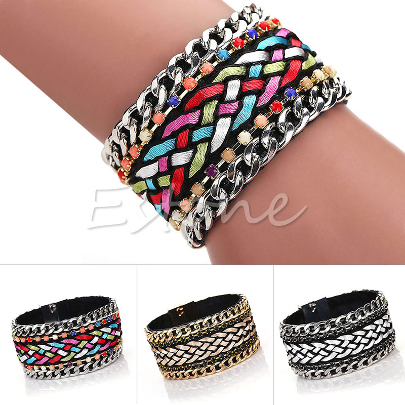 Women Hipanema Bohemian Braided bracelet Wrap Cuff magnetic clasp Lock