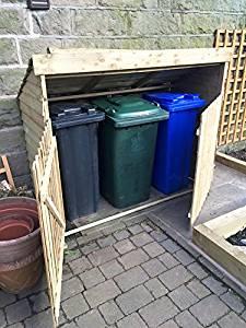 Cache poubelle triple placard, d'extérieur pour poubelles, cachette
