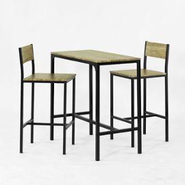Ensemble Table De Bar + 2 Chaises, Set De 1 Table + 2 Chaises, Table