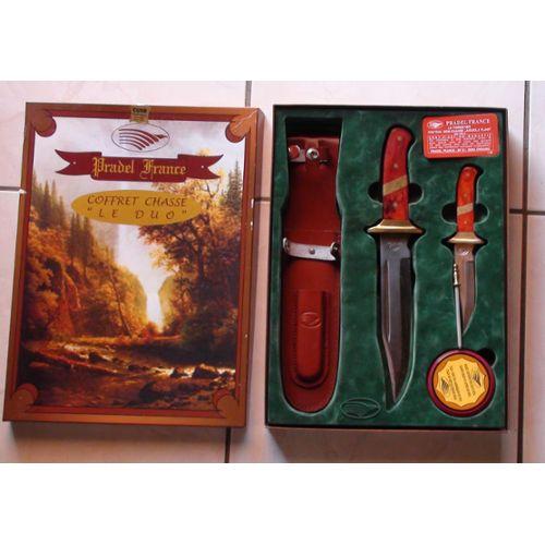 Laguiole de couteaux de chasse + etuis cuir + fusil + graisse Laguiole