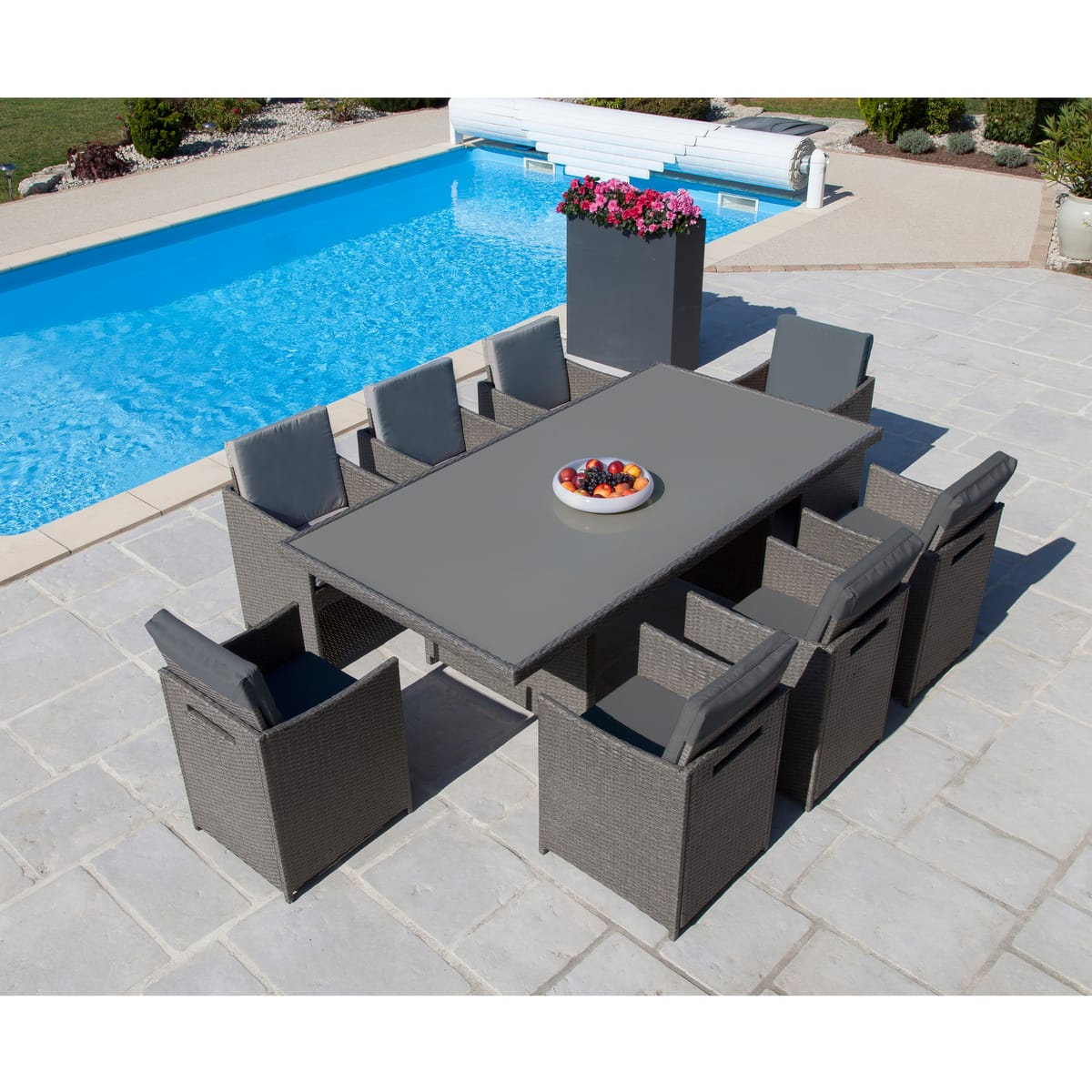 salon de jardin en plastique 8 places topiwall. Black Bedroom Furniture Sets. Home Design Ideas