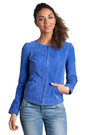 Veste en daim bleu femme