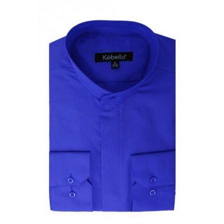 Chemise Homme Col Mao bleu Achat / Vente chemisier blouse Chemise
