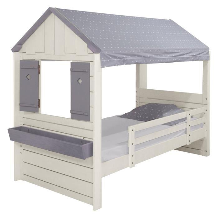 Lit cabane garçon PM blanc et gris étoilé Achat / Vente lit