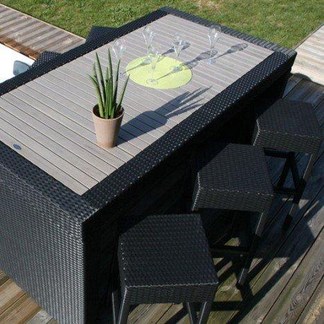 Salon de jardin Cuba résine tressée noir 1 table haute + 6 tabourets