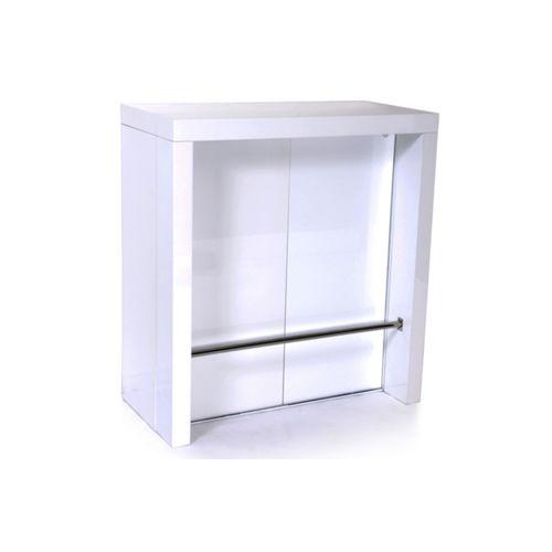 Neg'import Table haute console extensible 2 rallonges blanc laqué