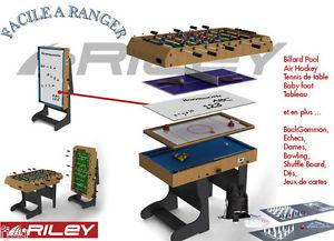 Multi Jeux 12 en 1 pliable bois billard PoolSnooker baby foot etc