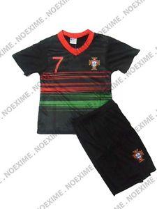MAILLOT DE FOOT PORTUGAL ENFANT NOIR SHORT 1 2 3 4 6 8 10 12 14 ANS