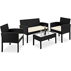 Salon de jardin DELUXE en polyrotin ensemble table canapé fauteuil