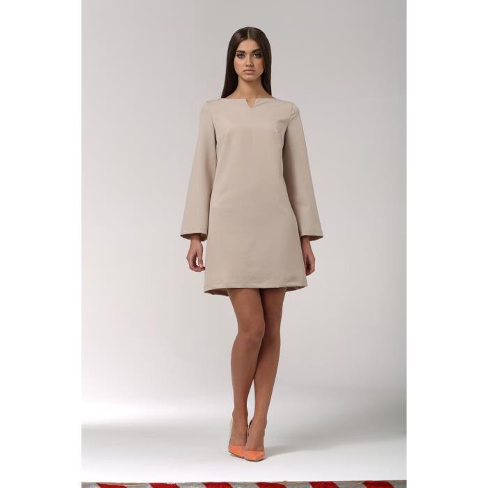 ROBE TRAPEZE COURTE NIFE BEIGE S35 Beige Achat / Vente robe