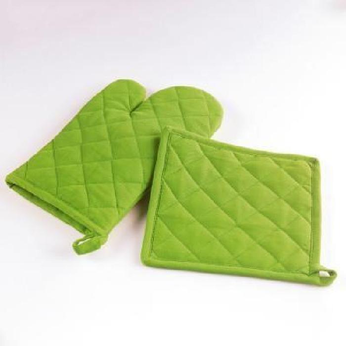 Gant + manique de cuisine GREEN coloris VERT, gant de cuisine 17 cm x