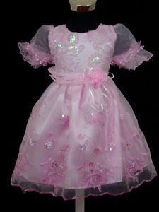 Nouveau flower girl Partie Pageant robe de baptème rose