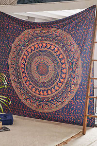 Couvre lit indienne Tapisserie Elephant Mandala Throw Wall Hanging