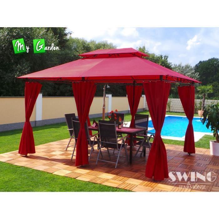 Tonnelle 4×3 Pavillon de jardin Minzo Rouge Achat / Vente tonnelle