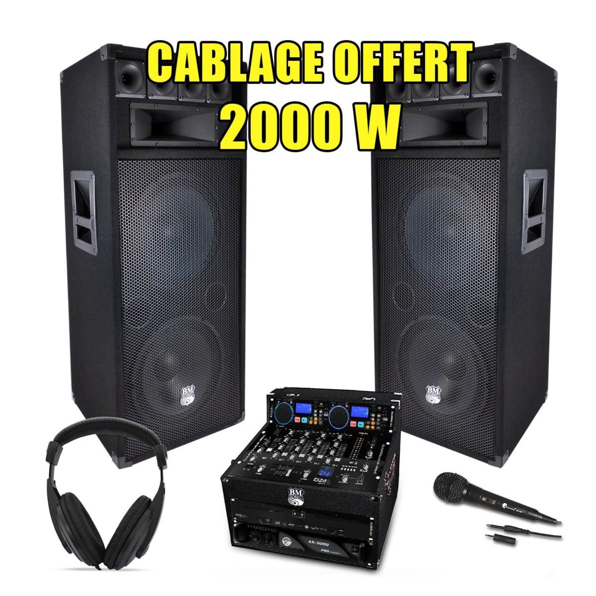 PACK SONO DJ Complet 2000W Ampli Lecteur CD IBIZA