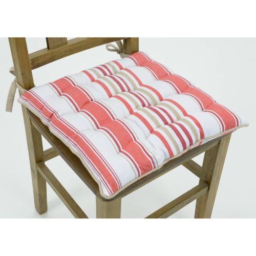 Amadeus Galette de chaise coton rayures rouge/blanc 40x40cm Bistro