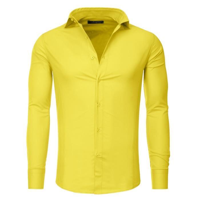 Chemise slim fit homme TZ9 Chemise jaune Jaune Achat / Vente chemise