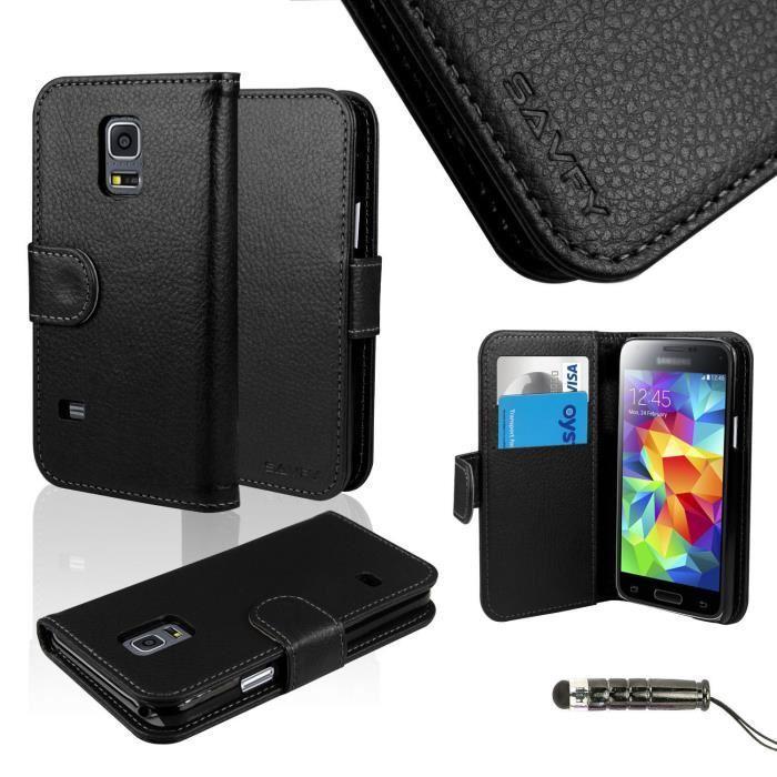 Étui Housse Coque CUIR Samsung Galaxy S5 Mini NOIR Achat coque