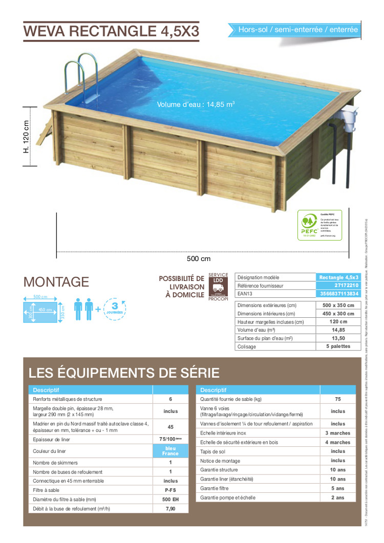 Piscine bois rectangle 4,5×3 m Hauteur 1,20 m Achat / Vente piscine