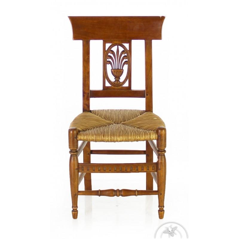 Chaise enfant en bois et paille Rameau