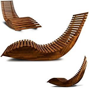 Chaise longue à bascule en bois Transat ergonomique Jardin/plage