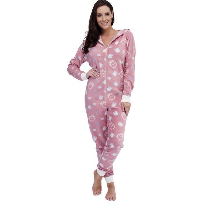 adulte polaire avec capuche Femme pyjama motif réveil horloge
