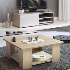 Table basse carree relevable blanc laque brillant et chene