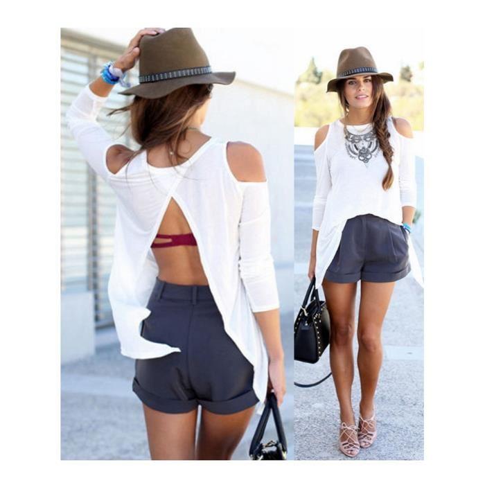 Top dos nu Blanc Achat / Vente t shirt