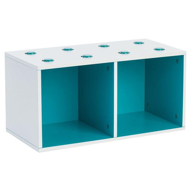 Rangement cube 2 compartiments bleu lagon bleu Atmosphera   La