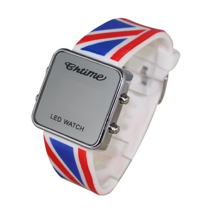 Montre led watch enfant ado london union jack drapeau