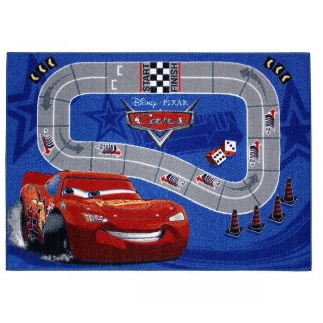 Tapis enfant cars circuit de course bleu Terre De Nuit
