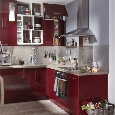 Meuble de cuisine rouge DELINIA Griotte |