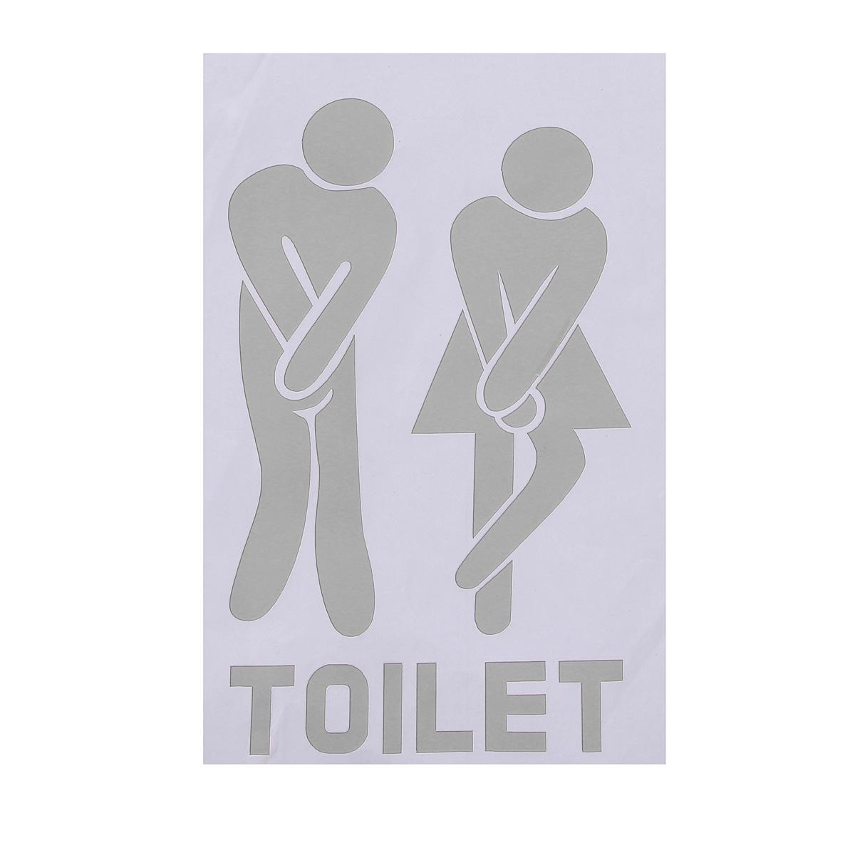 Toilette Porte Autocollant Salle Bain Drole Homme Femme PVC 6 Couleurs