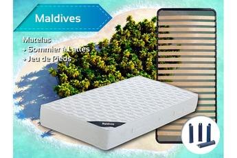 Ensemble matelas et sommier Maldives Pack Matelas + Lattes 90×190