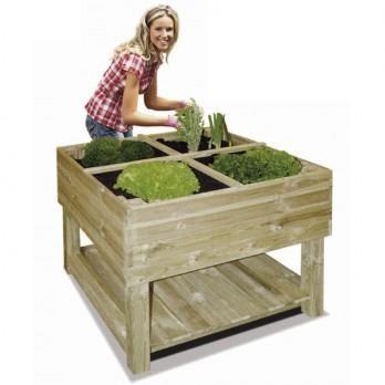 sur pieds en bois traité 100 x 100 cm Un jardin potager en bois
