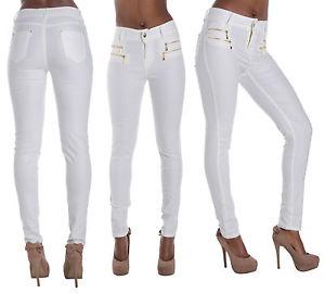 Nouveau femme femmes blanc cuir pantalon skinny jeans wet