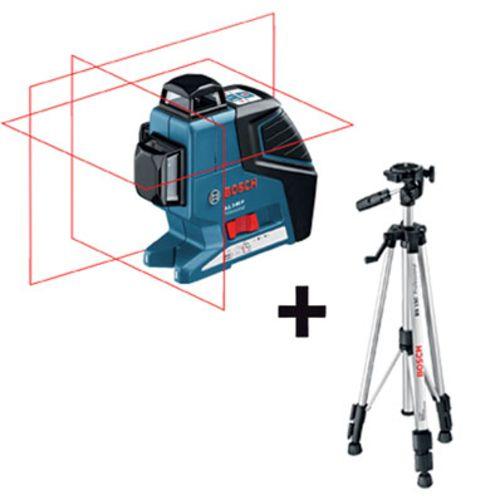 658260e13cbc2 Bosch Niveau Laser 3 Lignes Gll 3 80 P Avec Trepied Bs 150 pas